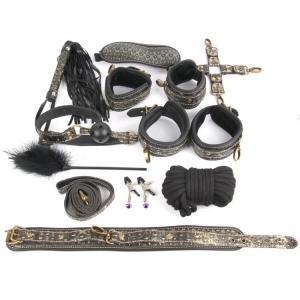 КОМПЛЕКТ (наручники, оковы, ошейник с поводком, верёвка, фиксатор, плётка, кляп, маска, зажимы для сосков, щекоталка) золото арт. NTB-80469